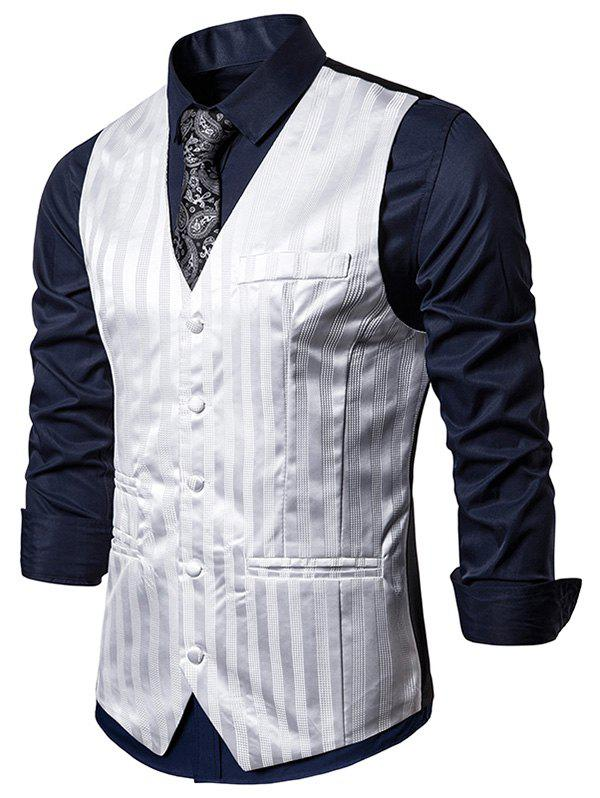 Vertical Striped Single Breasted Business Vest - WHITE XL