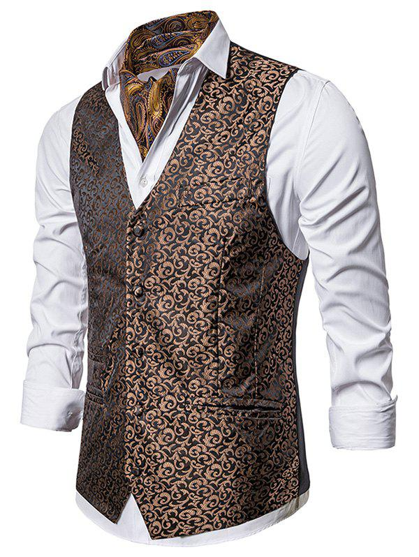 Baroque Jacquard Single Breasted Business Vest - BROWN 2XL