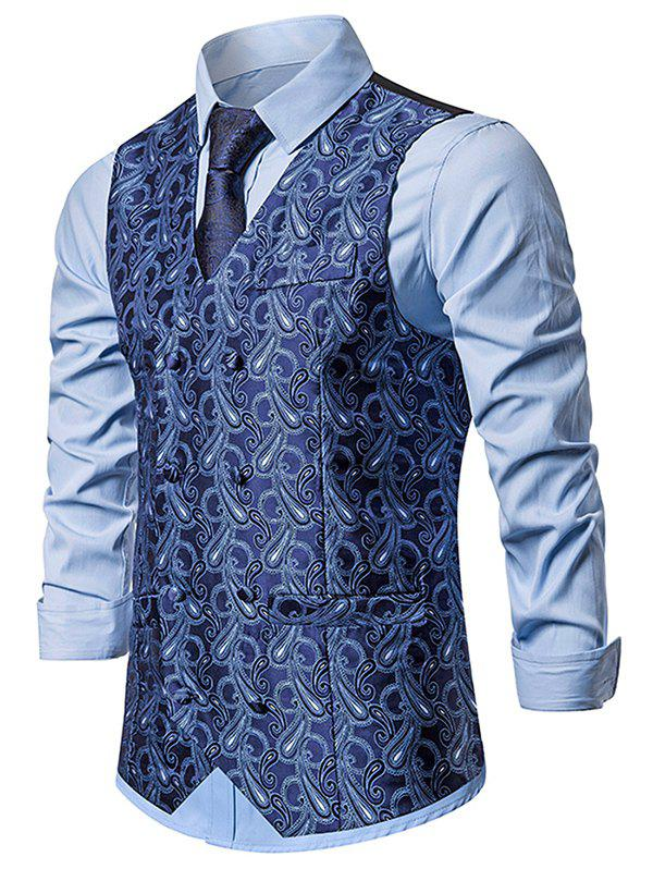 Double Breasted Paisley Print Business Vest - CADETBLUE L