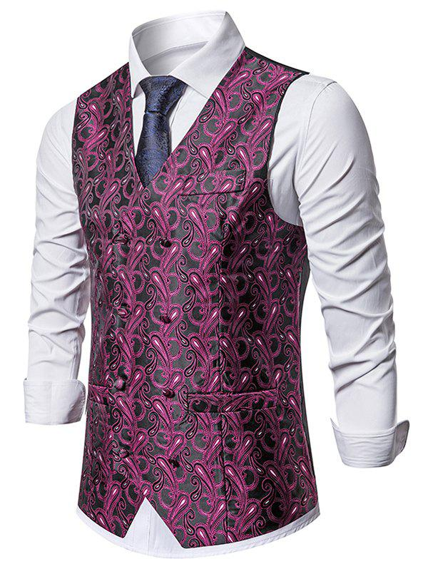 Double Breasted Paisley Print Business Vest - MEDIUM VIOLET RED XL