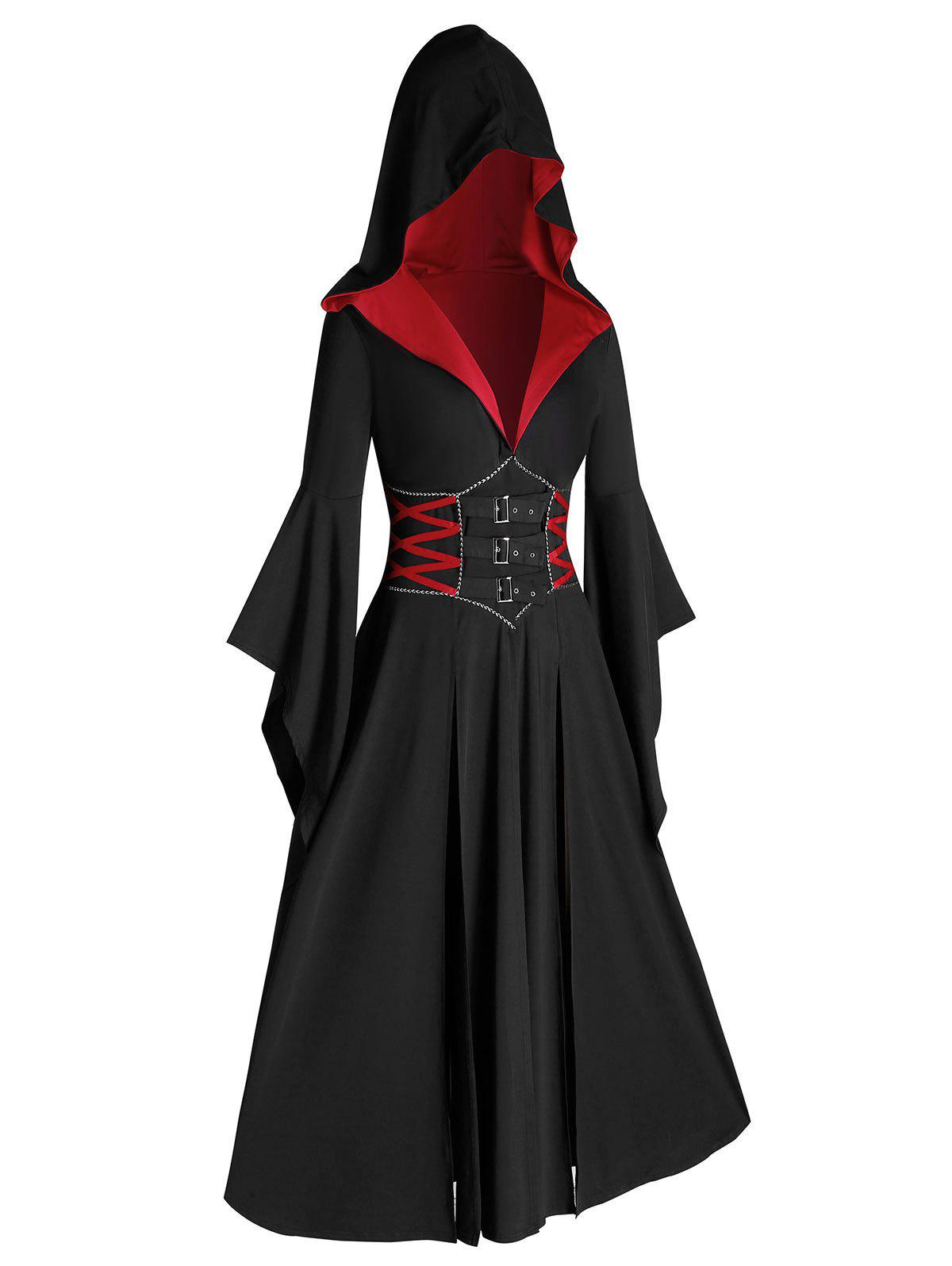 Plus Size Halloween Hooded Bell Sleeve Slit Buckle Gothic Coat - multicolor 1X