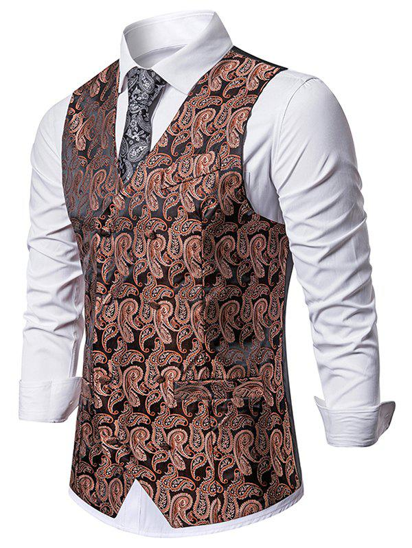 Paisley Jacquard Double Breasted Business Vest - COFFEE XL