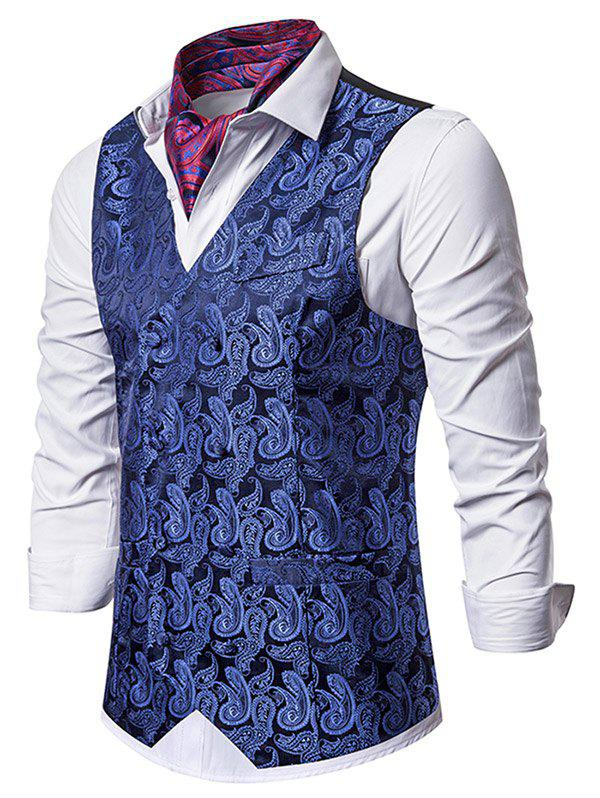 Paisley Jacquard Double Breasted Business Vest - DEEP BLUE M