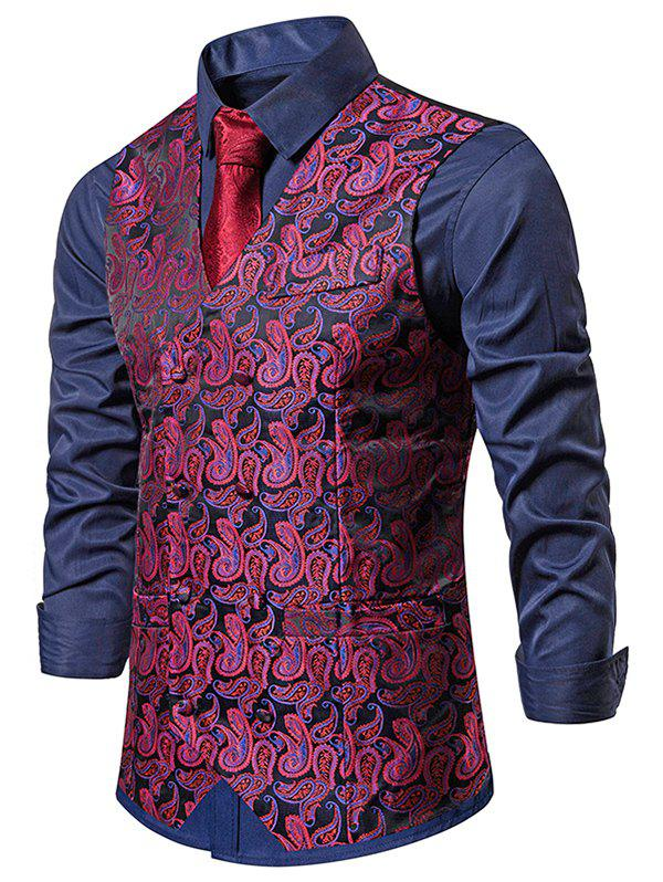Paisley Jacquard Double Breasted Business Vest - RED M