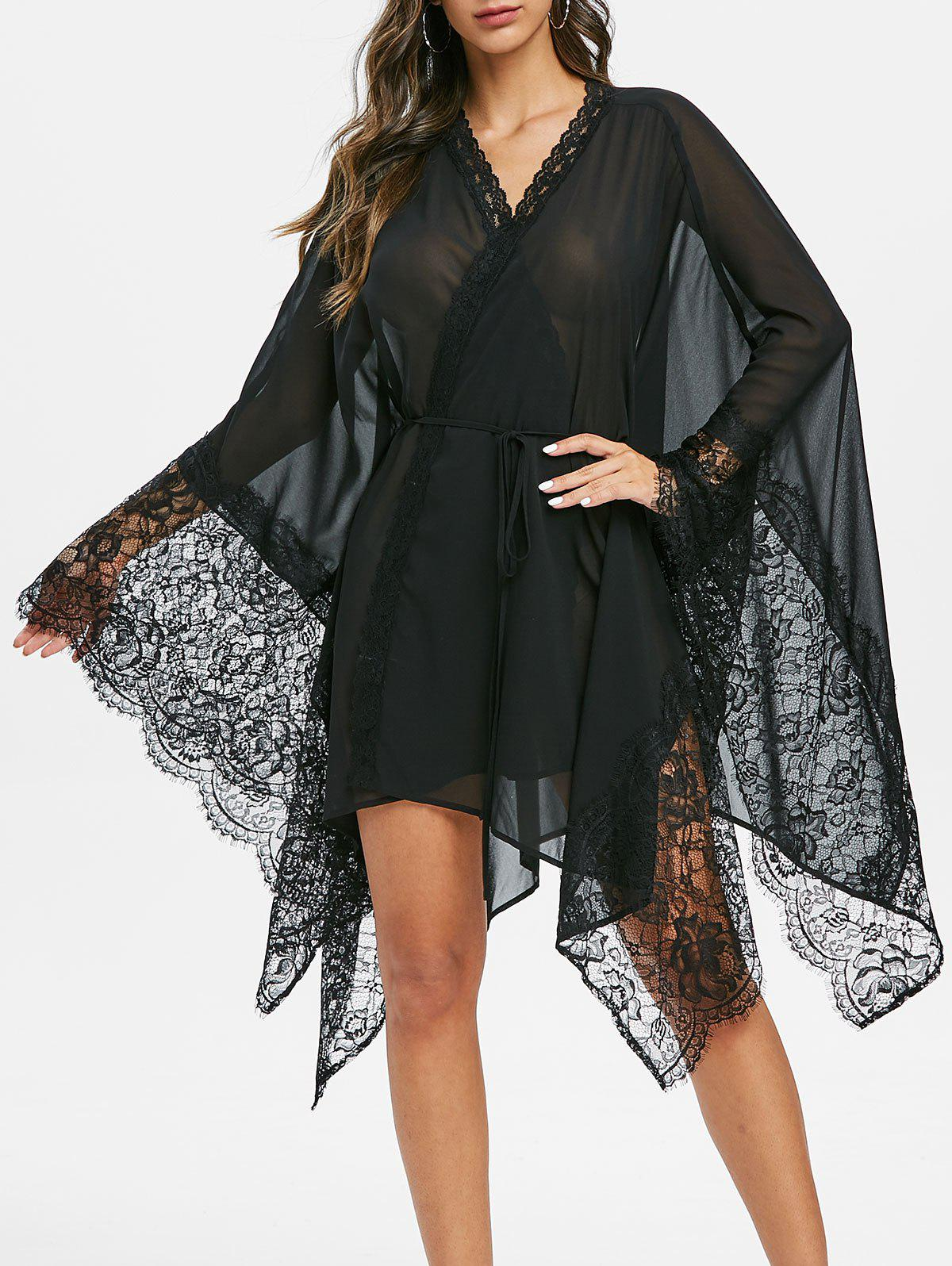 Lace Insert See Through Hanky Hem Wrap Dress - BLACK M