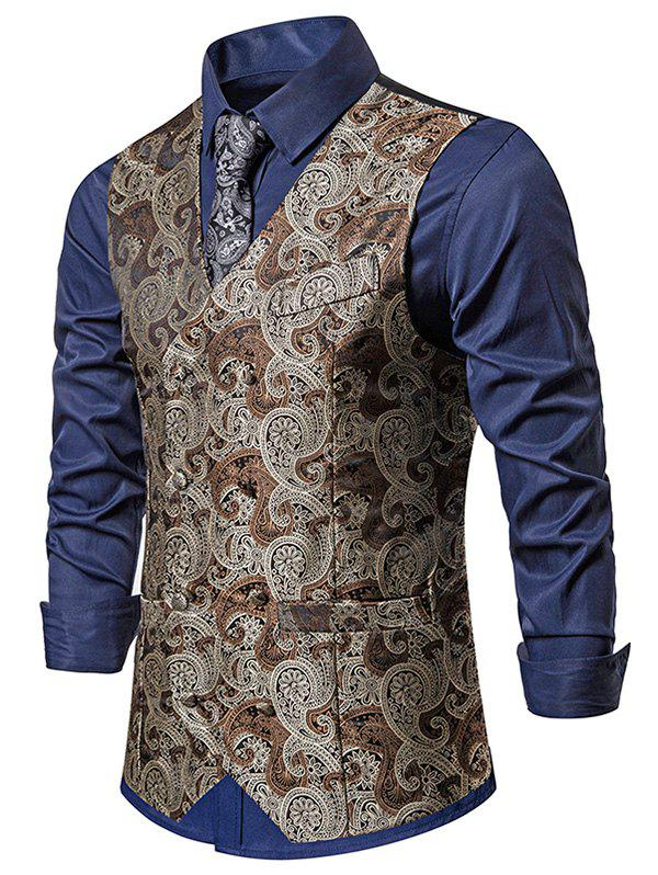 Paisley Jacquard Double Breasted Faux Pockets Vest - LIGHT BROWN XL