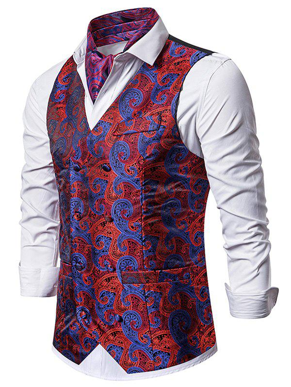 Paisley Jacquard Double Breasted Faux Pockets Vest - RED M
