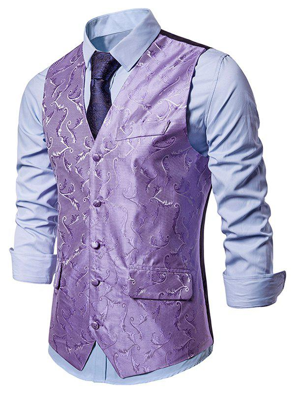 Baroque Jacquard Single Breasted Formal Business Vest - MAUVE M