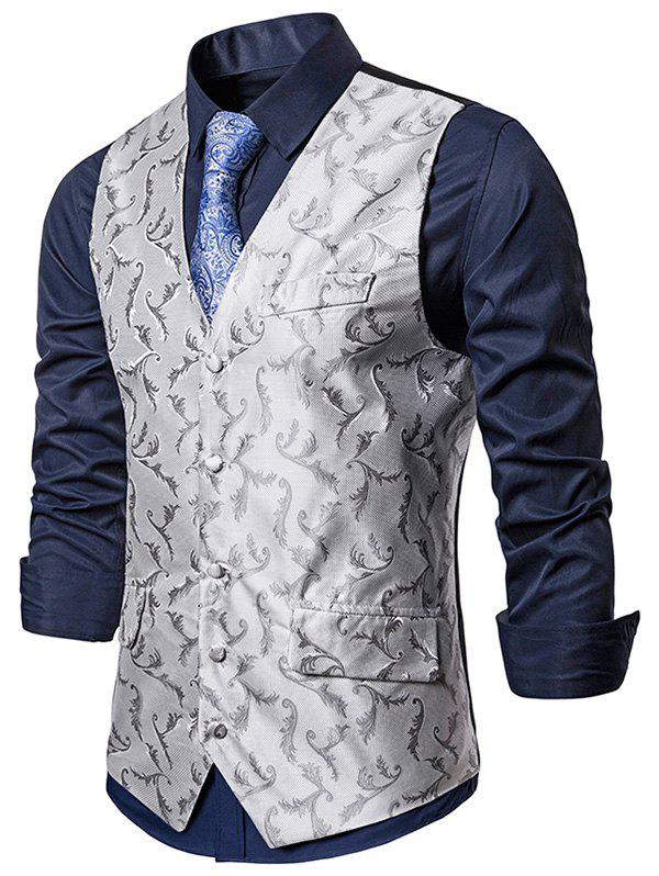 Gilet d'Affaires Formel Baroque à Simple Boutonnage en Jacquard - Gris Clair XL