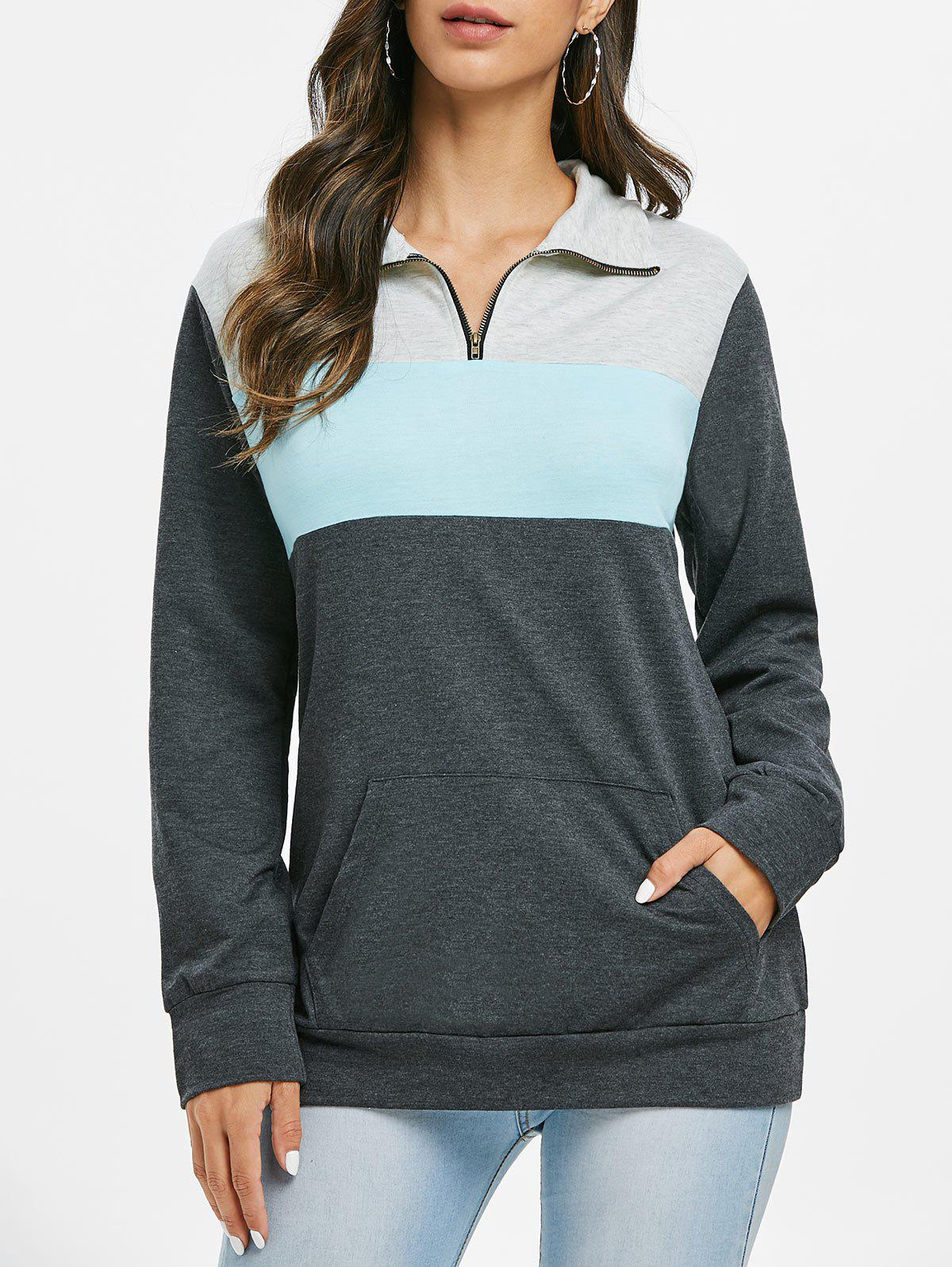 Front Zip Color Block Kangaroo Pocket Sweatshirt - multicolor M