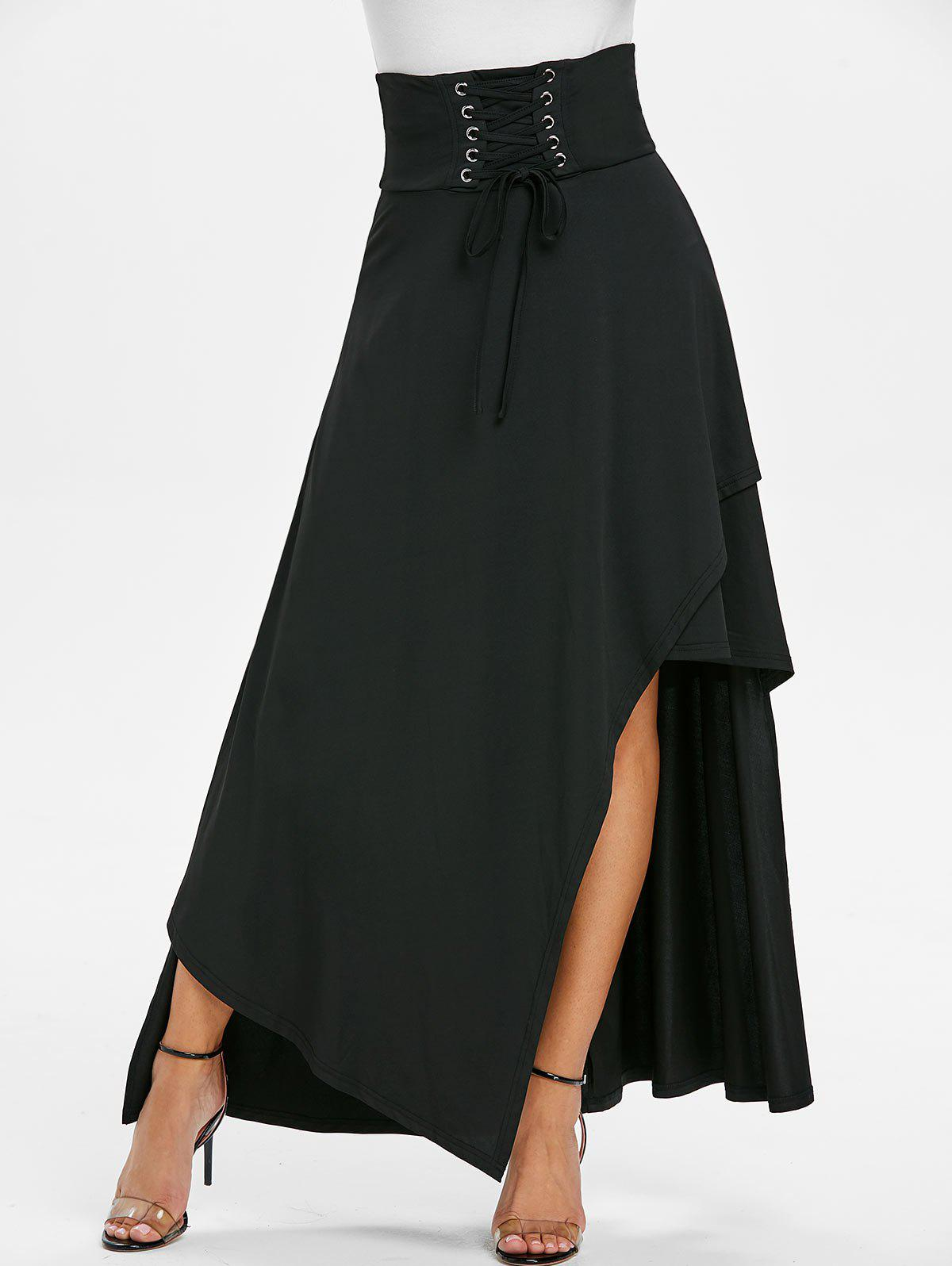High Waisted Lace-up Asymmetric Layered Maxi Skirt - BLACK M