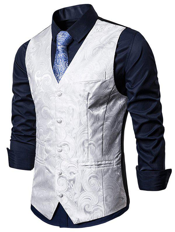 Single Breasted Paisley Design Formal Business Vest - WHITE M