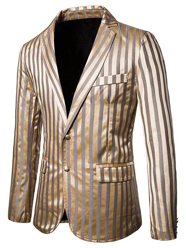 Vertical Striped Single Breasted Notch Lapel Blazer - GOLD S