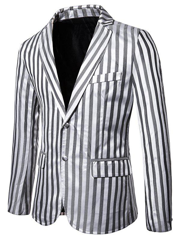Vertical Striped Single Breasted Notch Lapel Blazer - LIGHT GRAY S