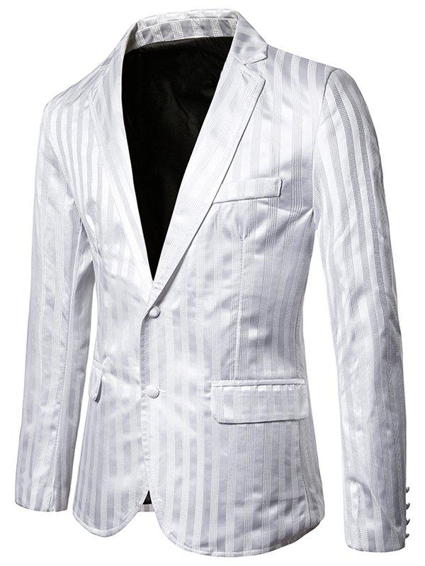 Vertical Striped Single Breasted Notch Lapel Blazer - WHITE XL