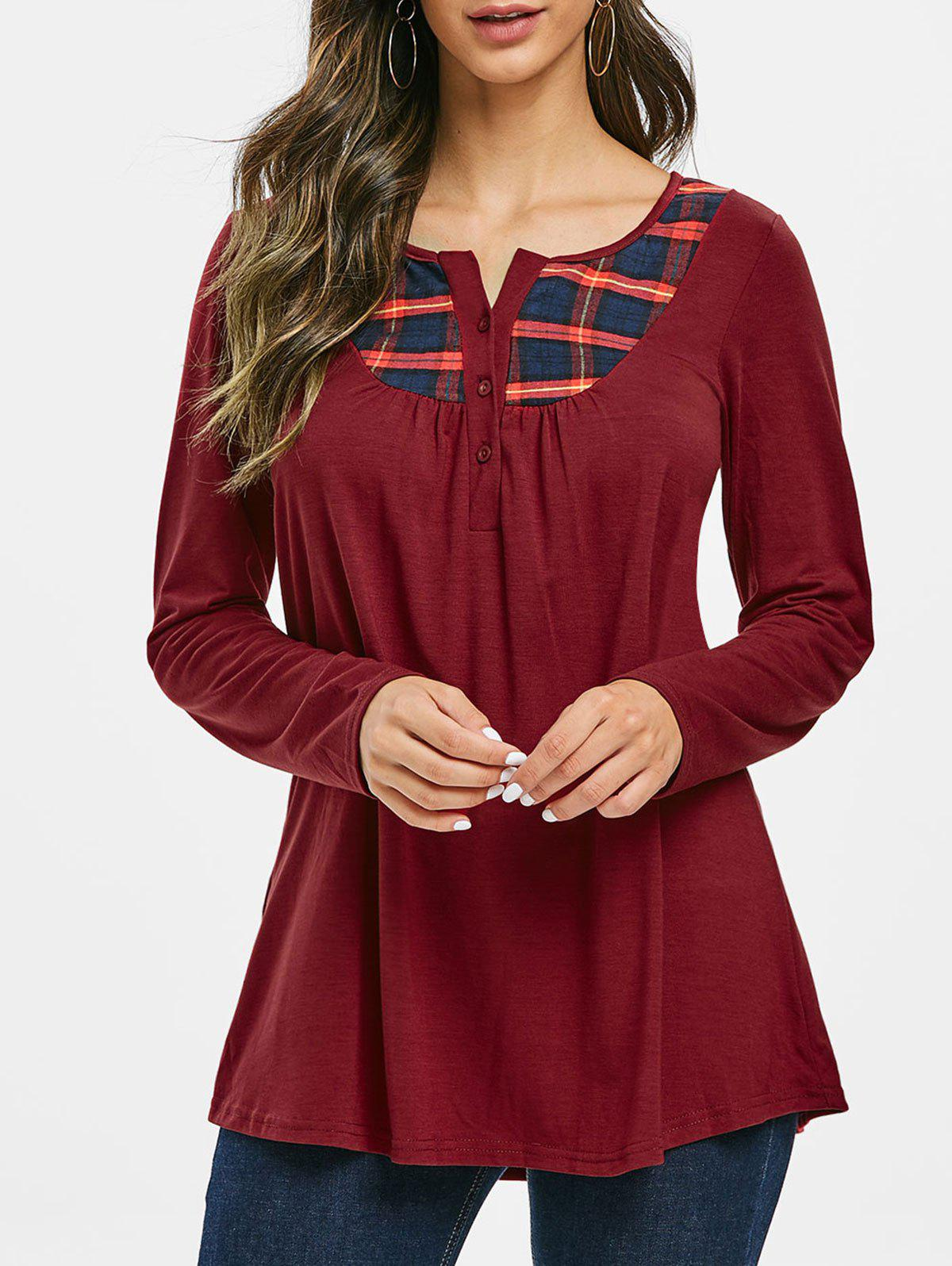 Plaid Half Button Ruched Notched Tee - RED WINE L