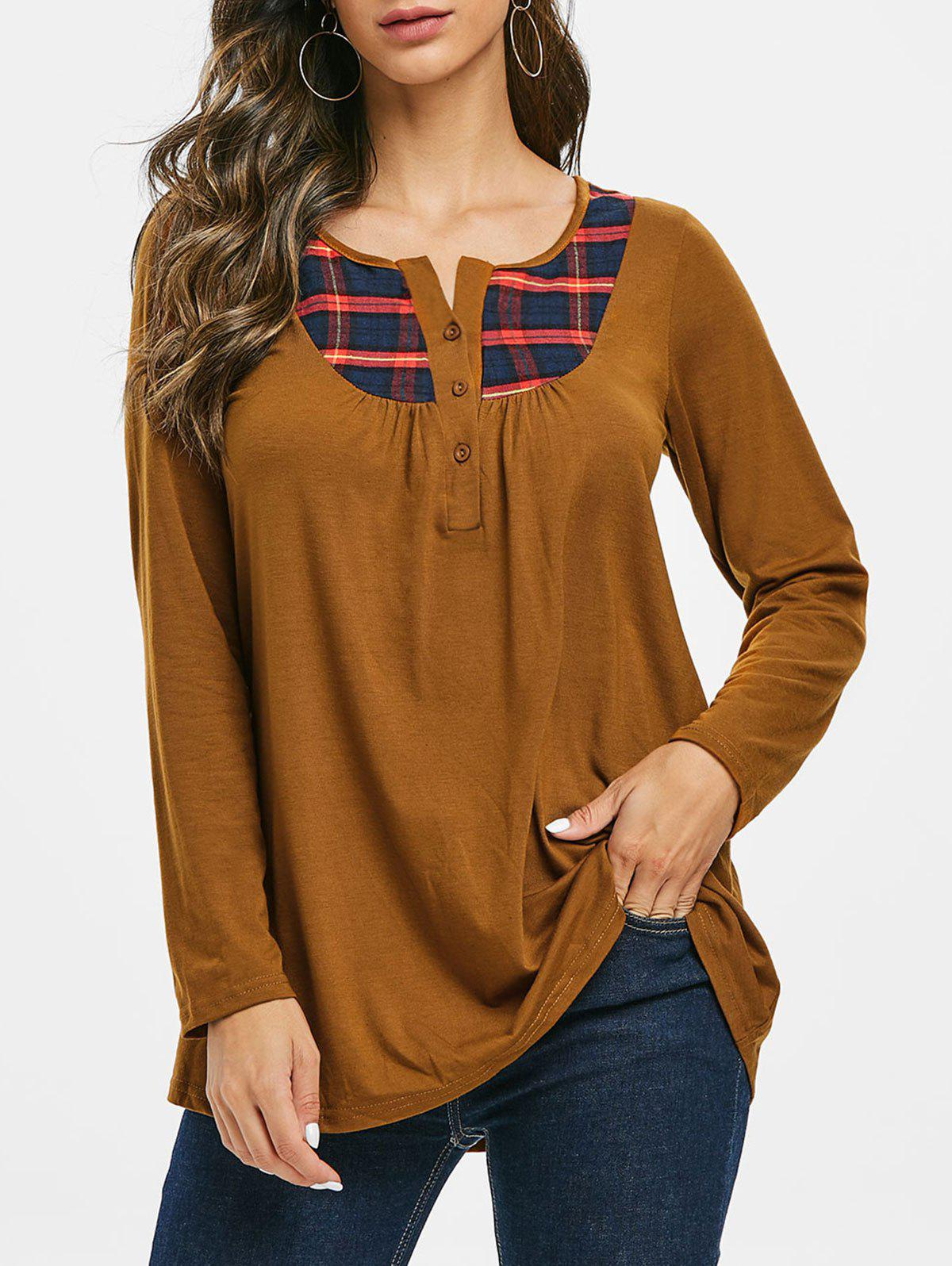 Plaid Half Button Ruched Notched Tee - LIGHT BROWN S