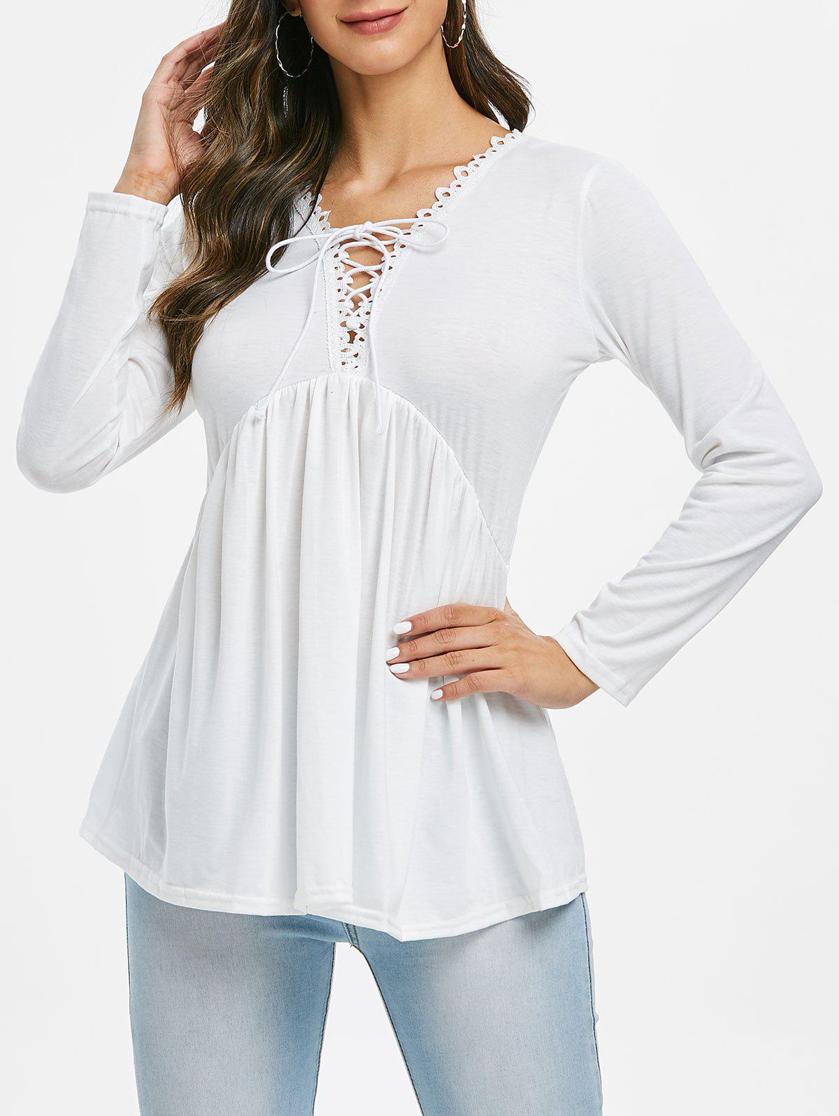 Lace Trim Lace-up Smock Top - WHITE S