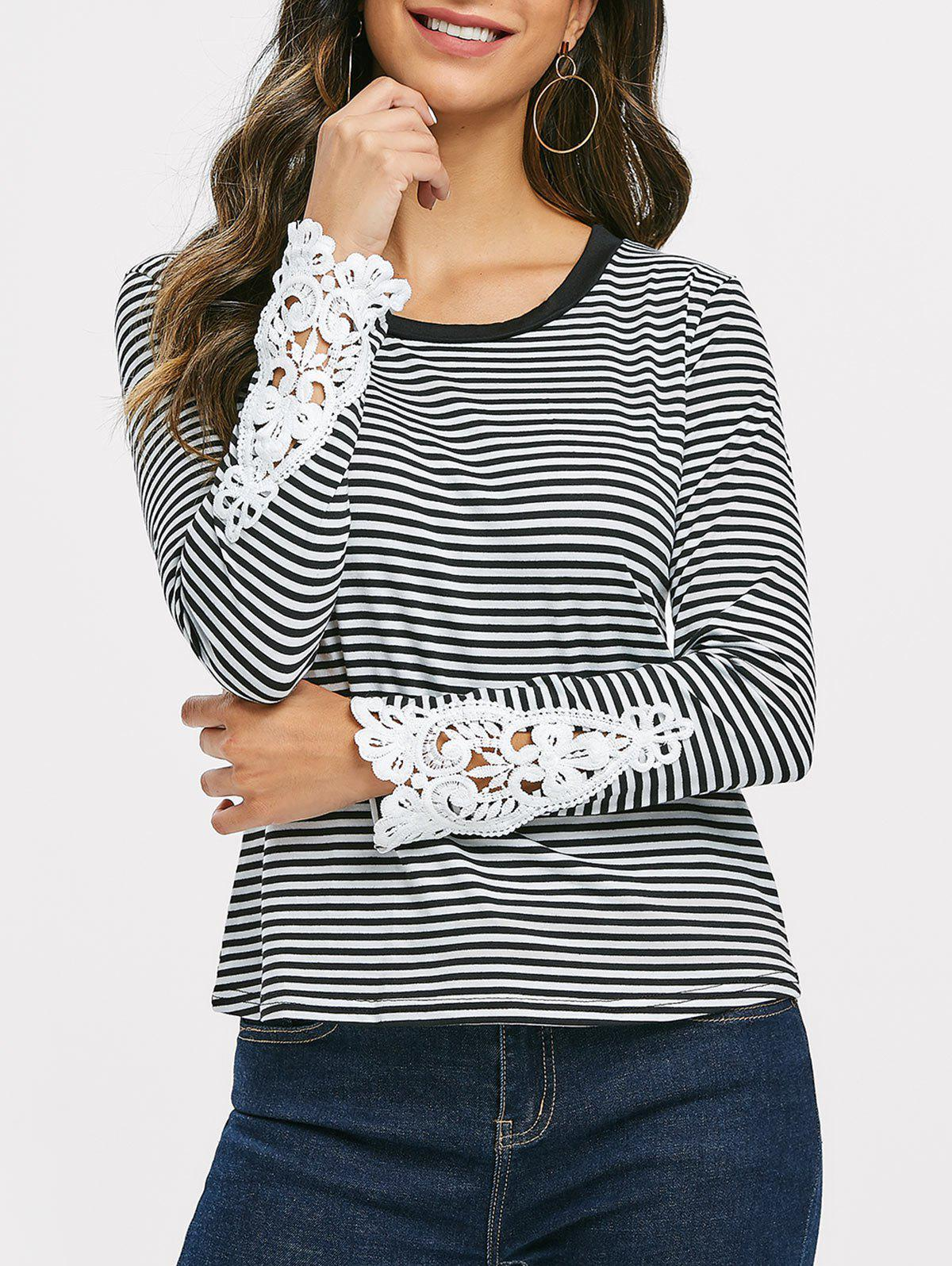 Lace Panel Striped Long Sleeve Top