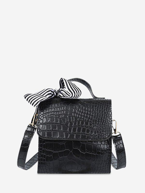 Retro Textured Design Crossbody Bag - BLACK