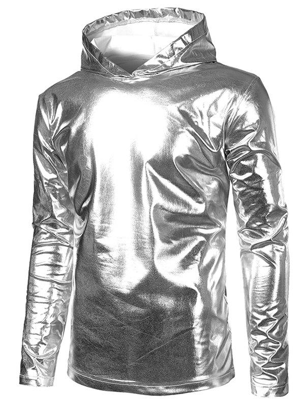 Metallic Hooded Long Sleeve T Shirt - SILVER L