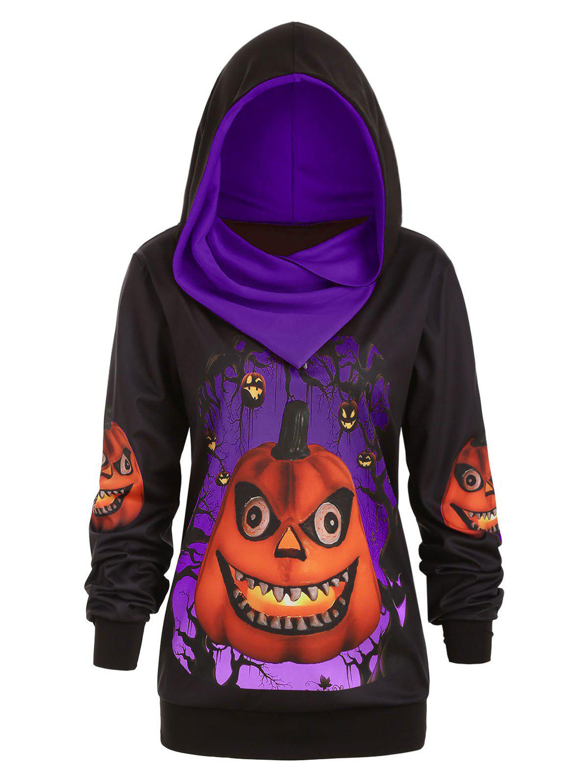 Plus Size 3D Pumpkin Print Convertible Halloween Hoodie - PURPLE L