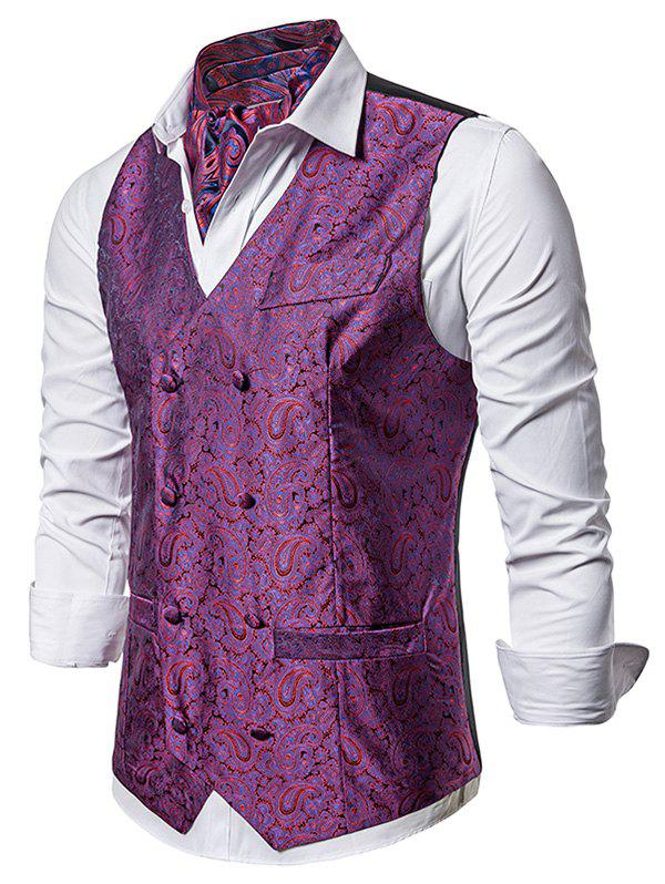 Double Breasted Paisley Jacquard Pockets Vest - MEDIUM VIOLET RED XL