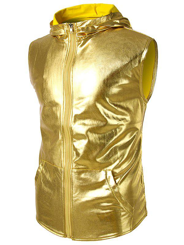 Patent Leather Zip Up Hooded Tank Top - YELLOW M