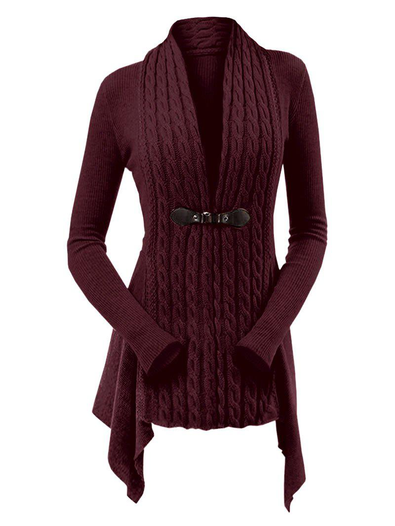 Cable Knit Ribbed Buckle Front Skirted Plus Size Cardigan - RED WINE 3X