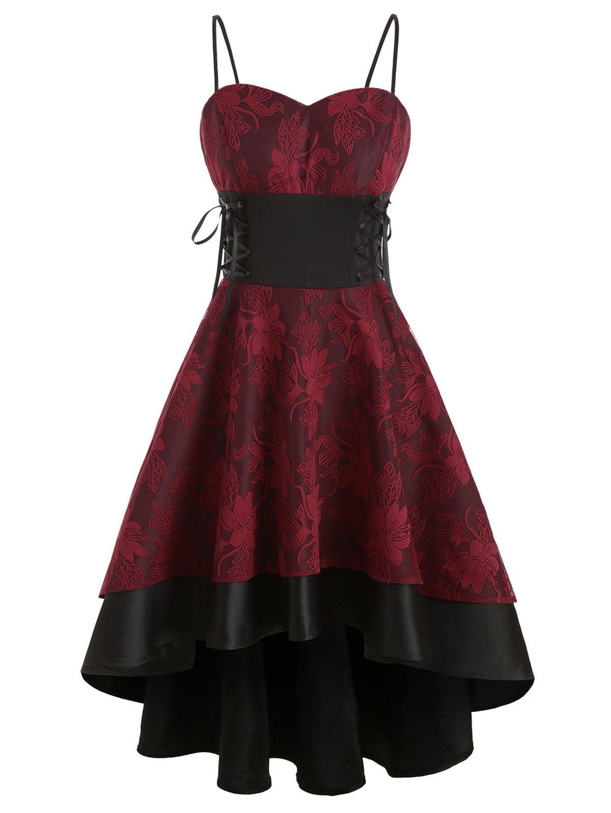 Lace Up High Low Dress - RED WINE 2XL