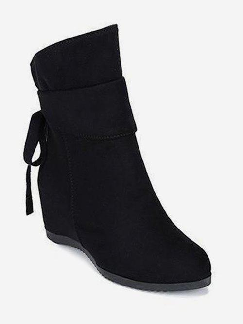 Increased Internal Back Bow Suede Ankle Boots - BLACK EU 39