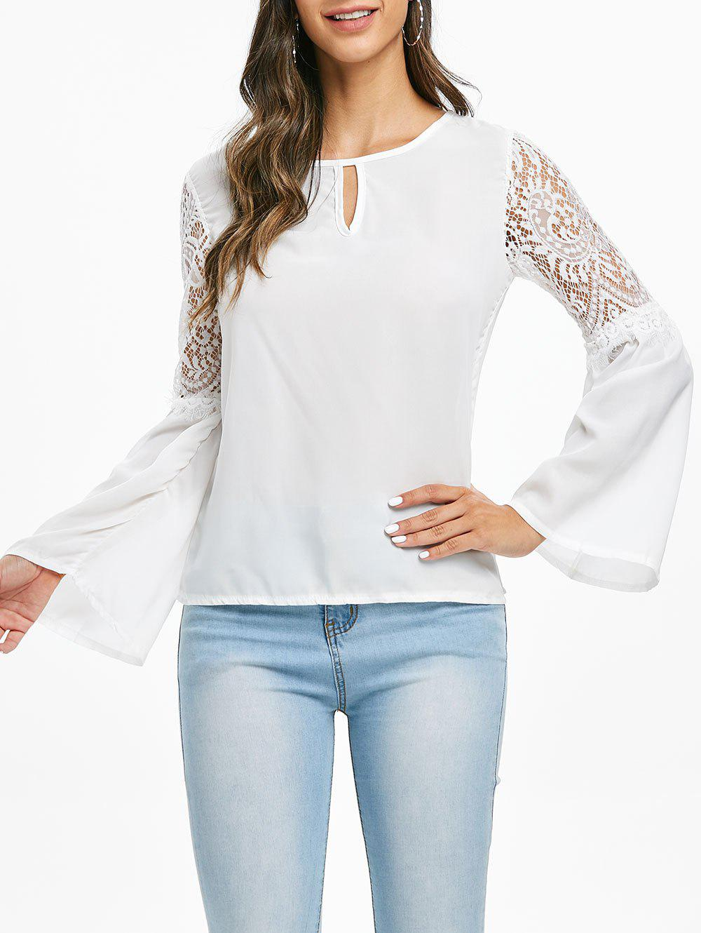 Lace Panel Keyhole Chiffon Blouse - WHITE M