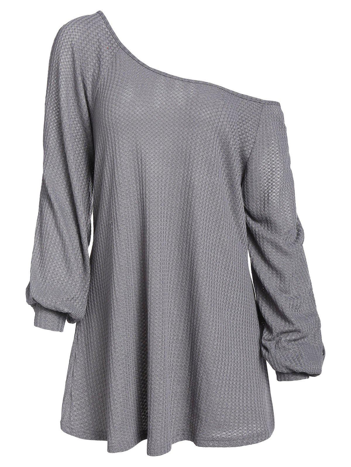 Plus Size Skew Collar Solid Tunic Sweater - SMOKEY GRAY L