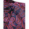 Paisley Print Notch Lapel Faux Pocket Blazer - RED S