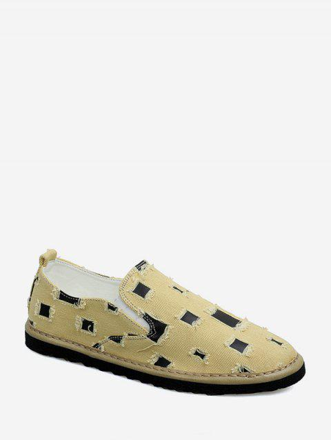 Vintage Distressed Patch Loafer Shoes - YELLOW EU 41