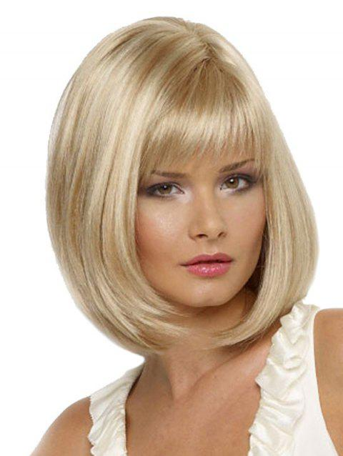 Medium Full Bang Straight Synthetic Bob Wig - CREAM