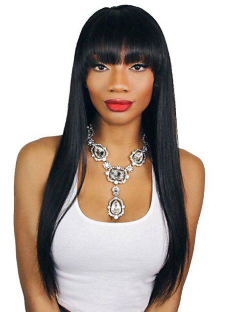 Soft Synthetic Heat Resistant Fiber Neat Bang Straight Long Wig - JET BLACK 20INCH