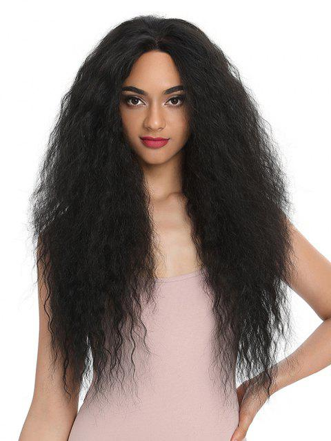 Synthetic Center Part Long Afro Wave Wig - BLACK