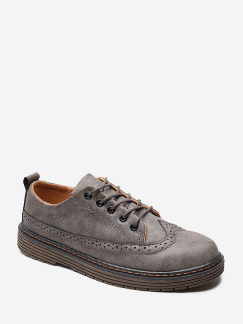 Round Toe Wingtip PU Leather Shoes - GRAY EU 42