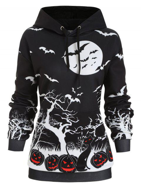 Pumpkin Bat Print Front Pocket Halloween Plus Size Hoodie - NIGHT 2X