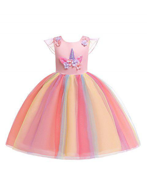 Unicorn Flower Design Cap Sleeve A Line Tulle Dress - PINK 140