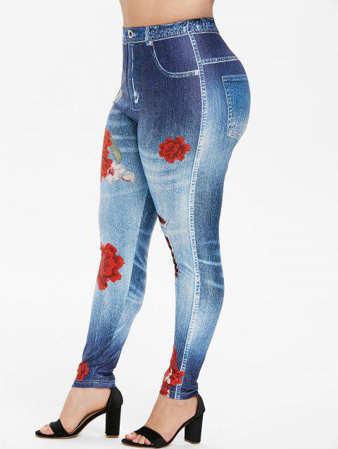 Plus Size 3D Floral Ripped Jean Print Jeggings - SKY BLUE 2X