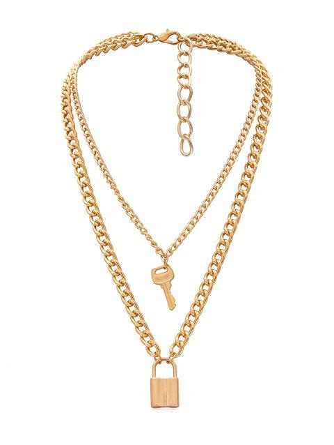 Lock Key Decoration Alloy Necklace - GOLD