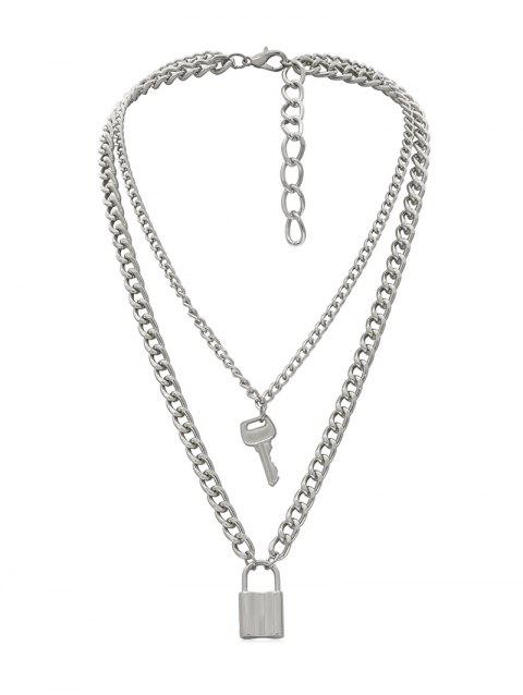 Lock Key Decoration Alloy Necklace - SILVER