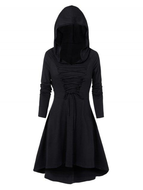 Hooded Lace-up Heathered High Low Gothic Dress - BLACK 2XL