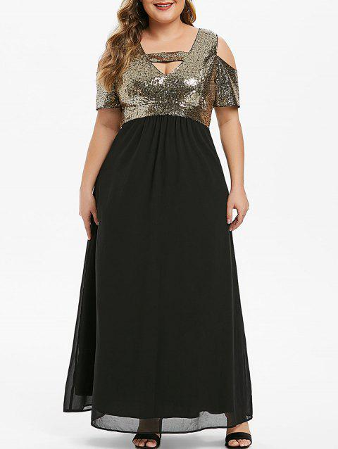Plus Size Cut Out Sequined Maxi Party Dress - BLACK 2X