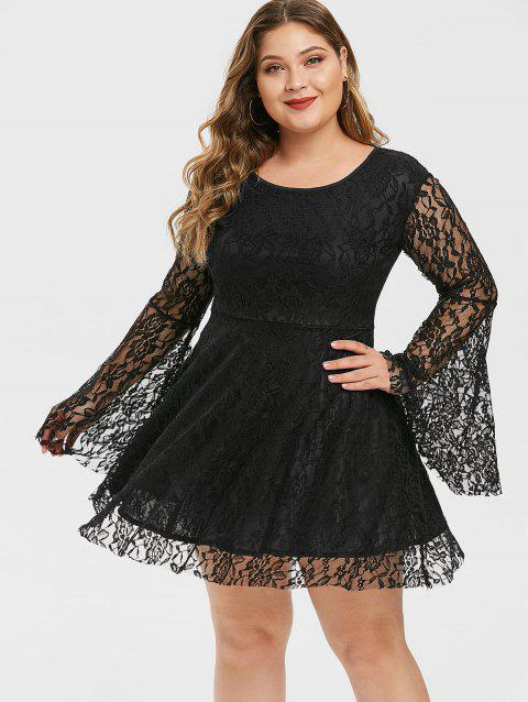 Flare Sleeve Back Zipper Plus Size Lace Dress
