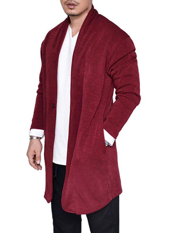Cardigan Long Simple Tricoté avec Un Bouton - Rouge M