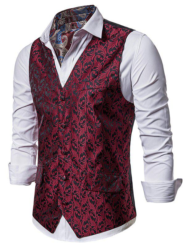 Single Breasted Jacquard Design Business Vest - RED XL