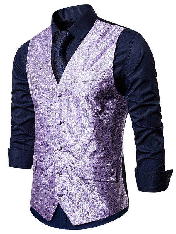 Single Breasted Jacquard Design Business Vest - MAUVE 2XL